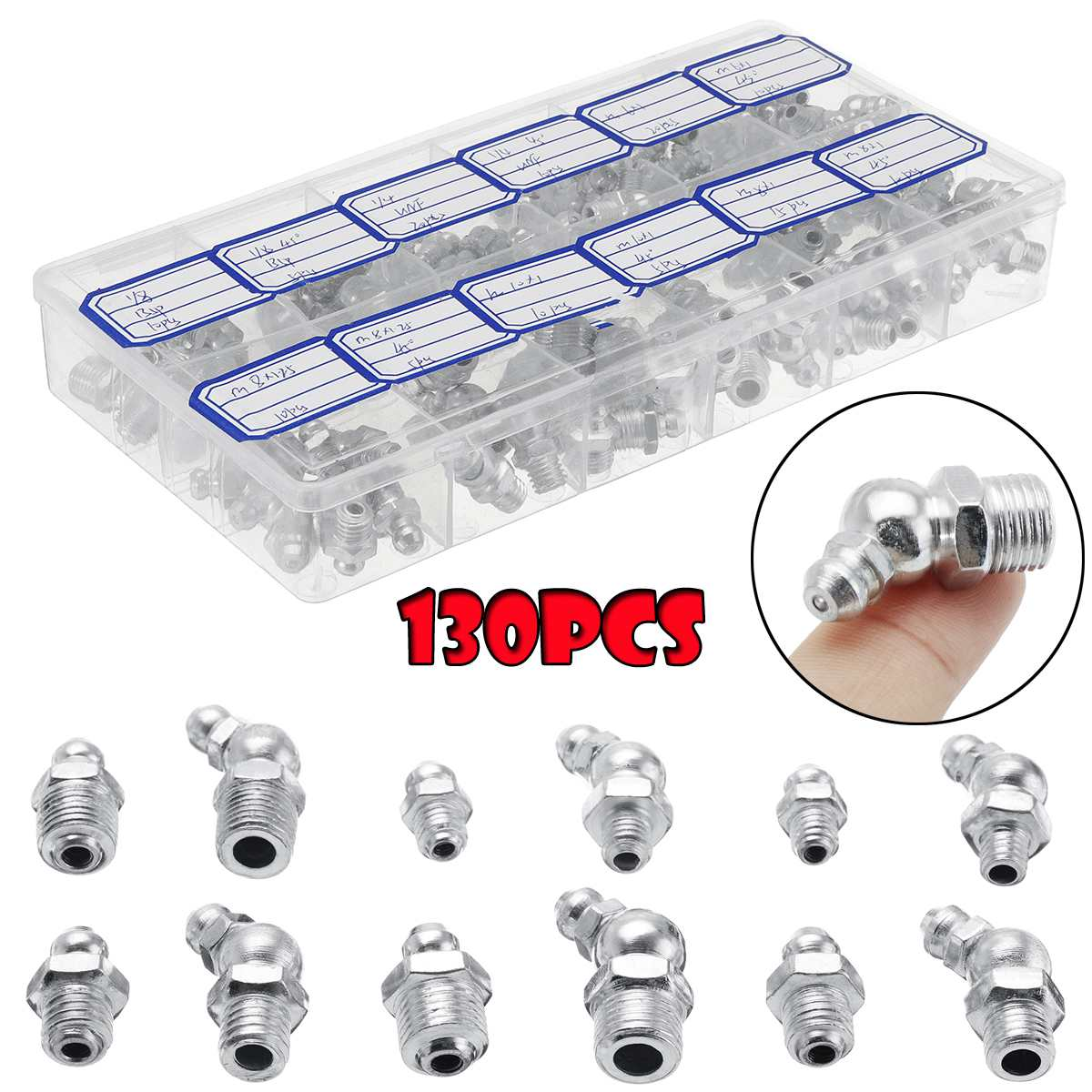 130pcs Grease Nipple Metric Imperial M6/M8/M10 BSP UNF 45° 90° 180° Metal Galvanized Assorted Box Of Grease Nipples