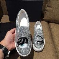 Обувь женские лоферы кожа Blink Ресницы Глаза Bling Туфли без каблуков снаружи Повседневное tenis женские мокасины женская обувь Женская обувь