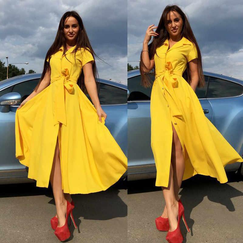 2019 夏の女性の A ラインカジュアルドレス半袖スリットサッシ無地ミディシャツドレス V ネックボタン vestidos