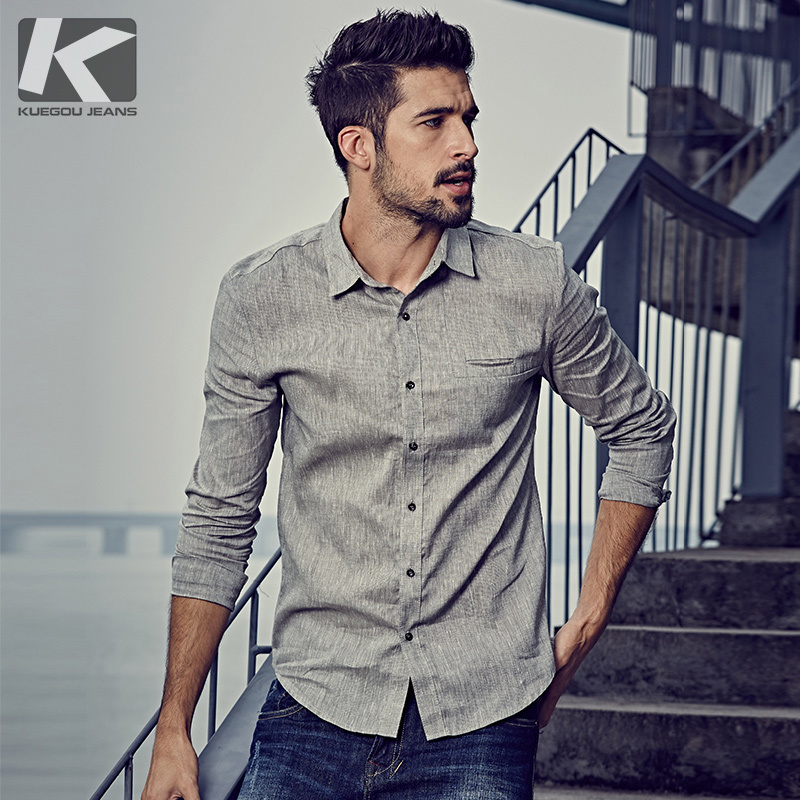 KUEGOU Spring Mens Casual Shirts Cotton Linen Gray Color Brand Clothing Man's Long Sleeve Slim Clothes Male Tops Plus Size 6160
