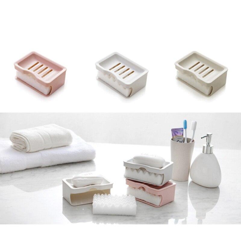 Купить с кэшбэком Creative Double Soap Box With Sponge Bathroom Accessories Set Soap Dish Bath Goods Container holder Salle De Bain Accessoire