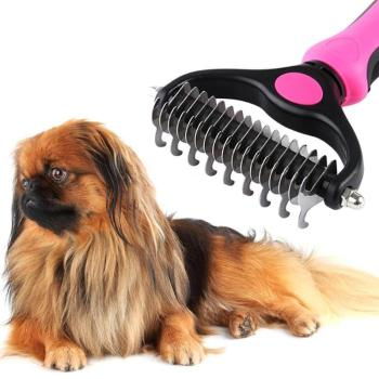 New Stainless Double-sided Pet Cat Dog Comb Brush Professional Large Dogs Open Knot Rake Knife Pet Grooming Product Dropshipping