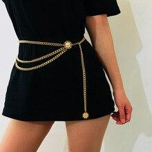 d157e1457835 Sexy Femmes De Mode Ceinture Hip Taille Haute Or Étroite Chaîne En Métal  Chunky Franges