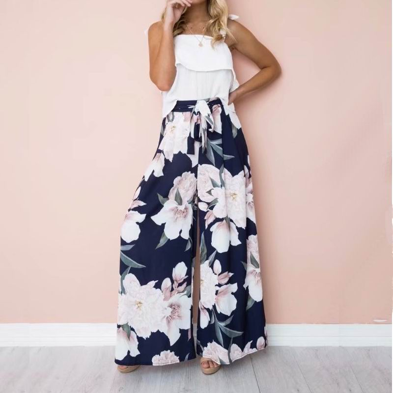 Tall Women   Wide     Leg     Pants   Spring 2019 New Fashion Elastic High Waist Modern Lady Clothing Boho People Floral Loose   Pant   Bottom