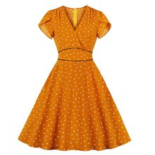 цена Sisjuly Elegant Party Office Lady Orange Sweet Beach Retro Women Dresses Sexy Vintage Preppy Plus Size Aline Dots Female Dress онлайн в 2017 году