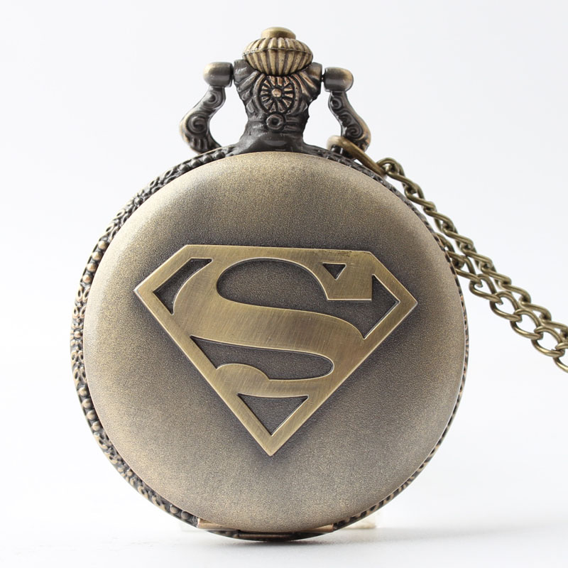 Pocket & Fob Watches  Superman Hero Carved Steampunk  Pocket Fob Watch for Men/Women Necklace Pendant Clock Gifts