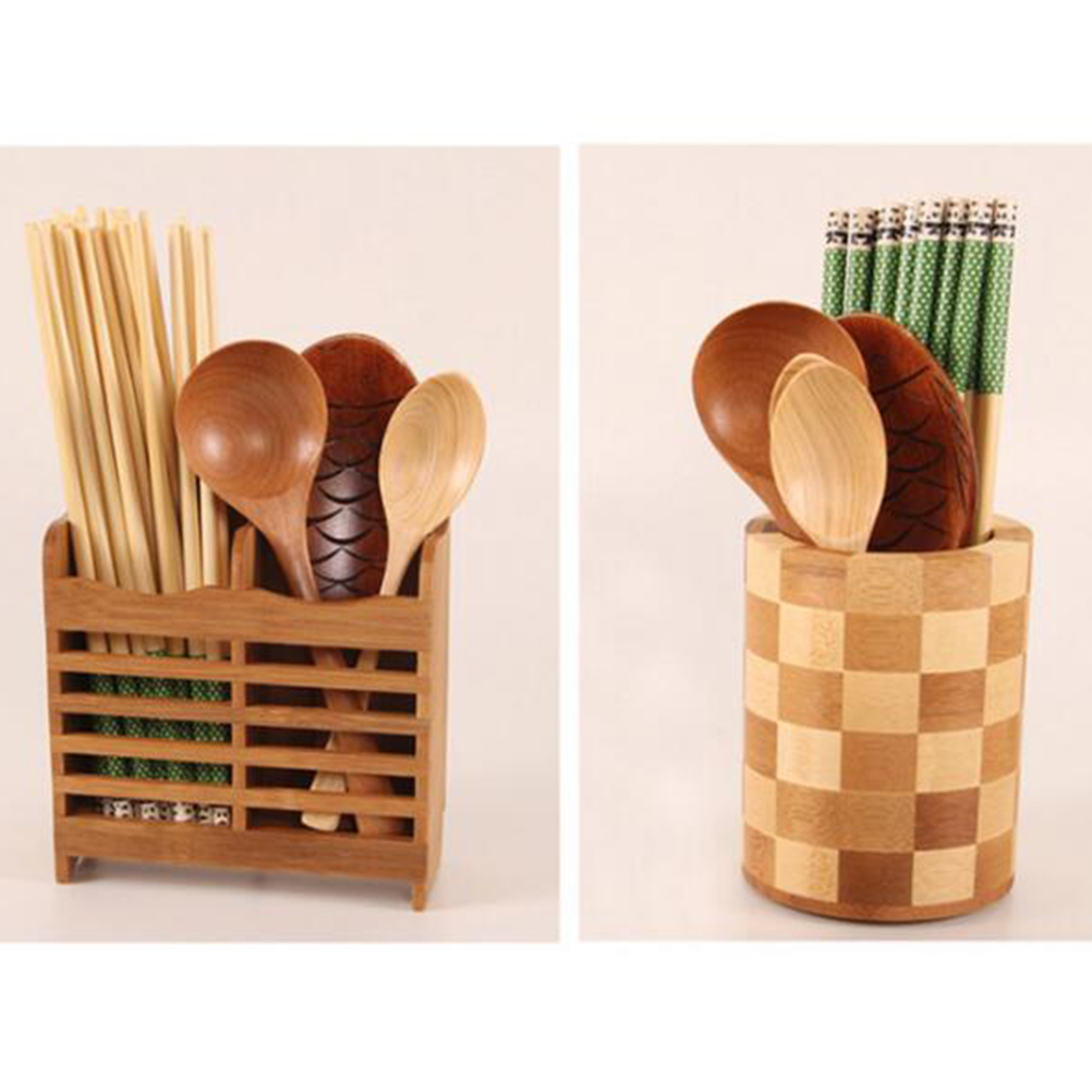 Us 838 45 Off1 Pc Tableware Bamboo Drying Utensil Storage Round Caddy Holder Organizer Shelf For Chopsticks Fork Pens Spoon Knife Pencils In
