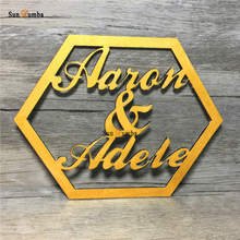 Wedding Sign Custom Personalized Name Hexagonal Wooden Hanging Signs Vintage Decoration for Chair Wood Photo Booth Props
