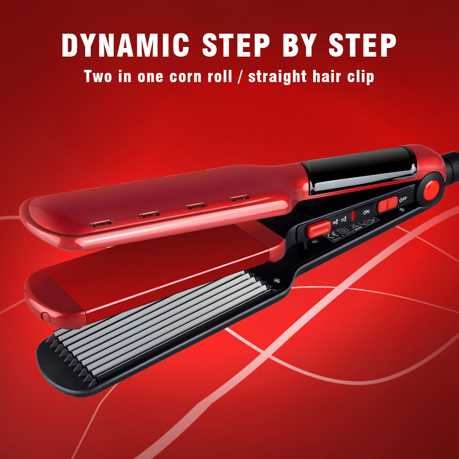 3 In 1 Hair Straightener Multi-Function Dual-Use Corn Curling Iron Ceramic Coating Straightening Iron Hair Style Tool