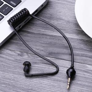 Image 3 - 3.5mm In Orecchio Anti radiazioni Auricolare Singolo Ascolto Tubo Dellaria Stereo A Spirale Cavi Mono Funzione Auricolare In Ear auricolare Stereo