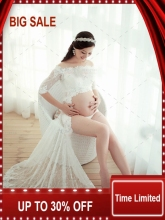New Fashion photography clothing for Pregnant women dress the white Lace Dress