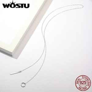 Image 4 - WOSTU الأصلي 100% 925 فضة رائعة عبر دائرة خط قلادة القلائد للنساء S925 مجوهرات فاخرة هدية CQN304