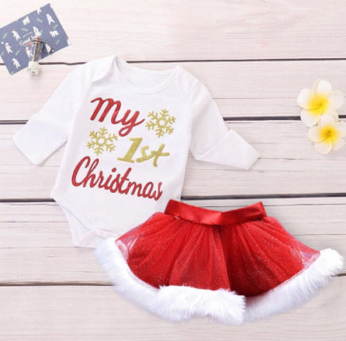 US Toddler Infant Baby Girl Xmas Tops Romper Bodysuit Tutu Skirt Outfits Clothes
