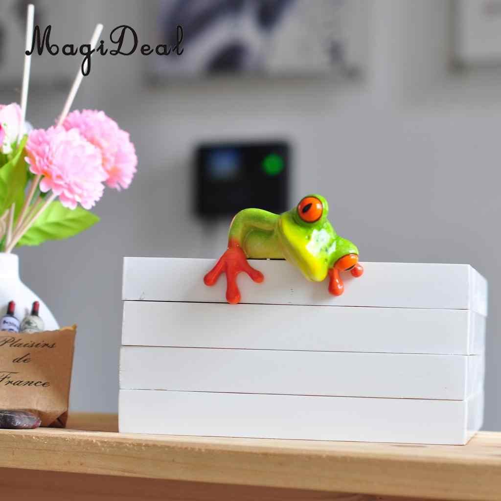 MagiDeal reçine yaratıcı 3D zanaat kurbağa heykelcik dekorasyon süs heykeli ev bahçe dekor masası masa raf figürler hediye