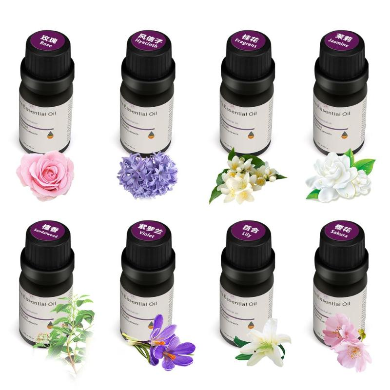 10Ml Essential Oils For Diffuser Aromatherapy Humidifier 8 Kinds Of Rose/Hyacinth/Fragrans/Jasmine/Sandalwood/Violet/Lily/Sakura