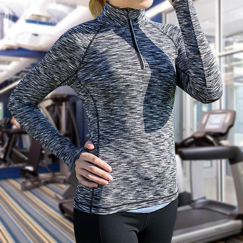 Sports Tops Running Yoga Clothes Quick Dry Half- Zip Slim Sports Training Long Sleeve Fitness Shirt Sportswear
