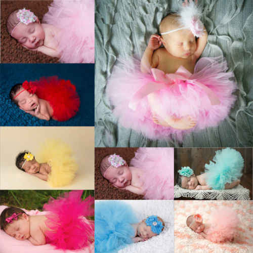 2018 NEW Infant Baby Girls Tutu Skirt + Headband Flower Photography Clothes Props 0-24M