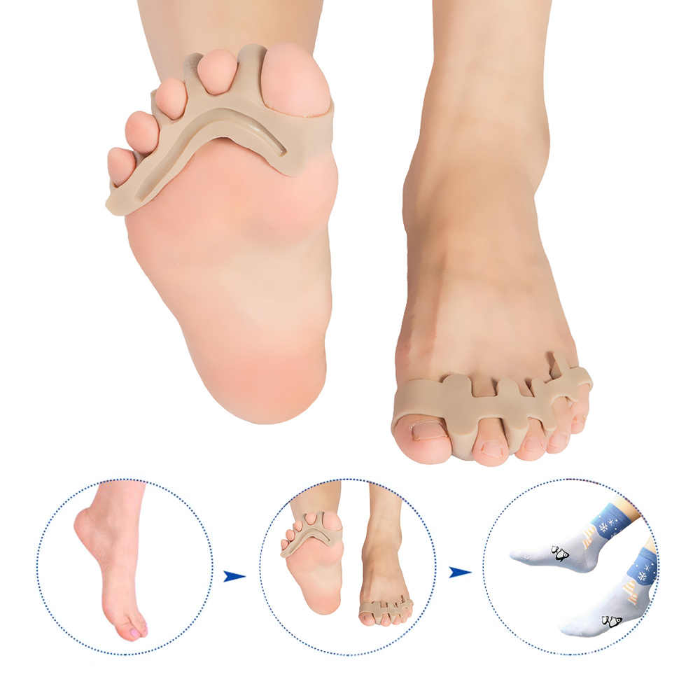 1 คู่ซิลิโคน Toe Separators Straightener Corrector Toe Spacer Spreader Stretcher สำหรับ Bunion Relief Hammer Toes Toe Correction