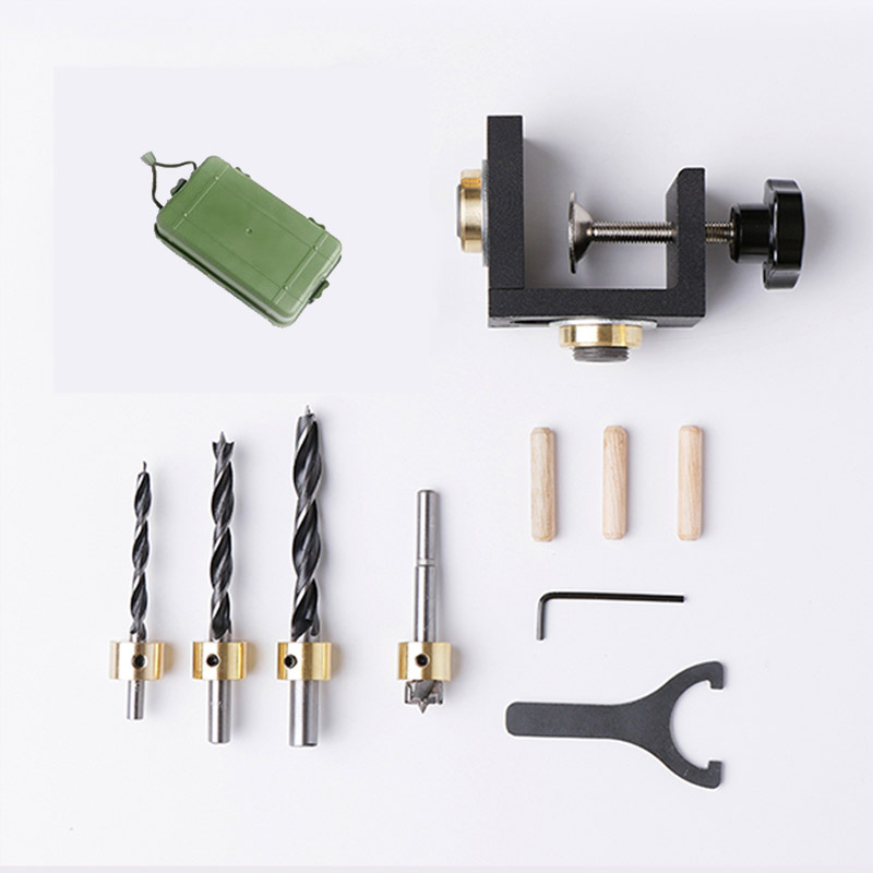 Carpenter Tools Set Wood Drilling Guide Dowel Jig For Corner Edge Surface Joints Drilling Wood Clamp 3 in 1 positioning puncher