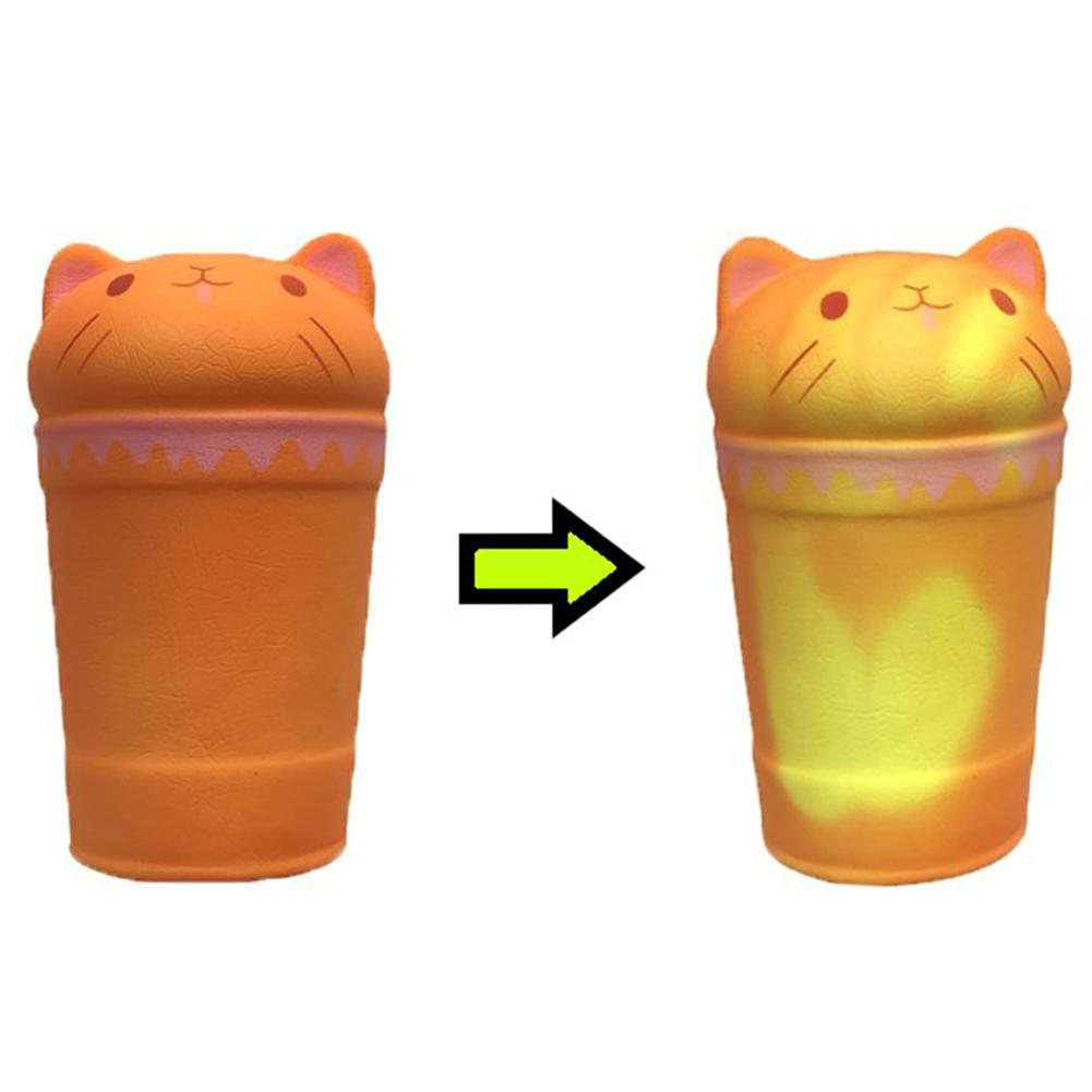 Simulate Cat Shape Coffee Cup Temperature Sensing Squishy Toys For Kids