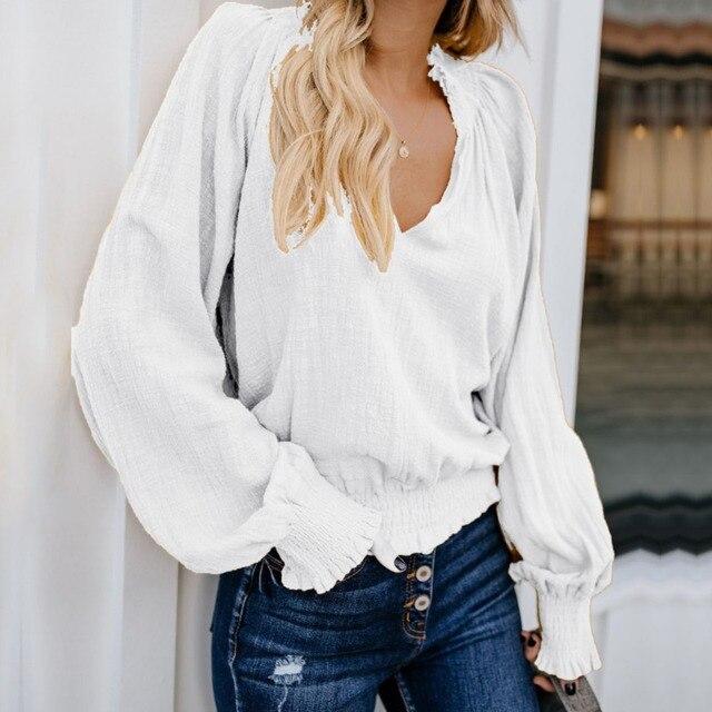 Casual Cotton Linen Shirt Women Blouses Lantern Sleeve V Neck Vintage Long Sleeve Ladies Blusas 2019 Summer Autumn White Red 1