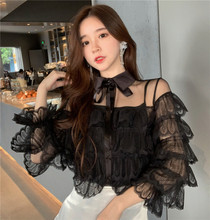 2019 Spring Girls Transparent Lace Blouses Shirts Tees Female Ruffles Sleeve Fairy Blouses Tops For Women