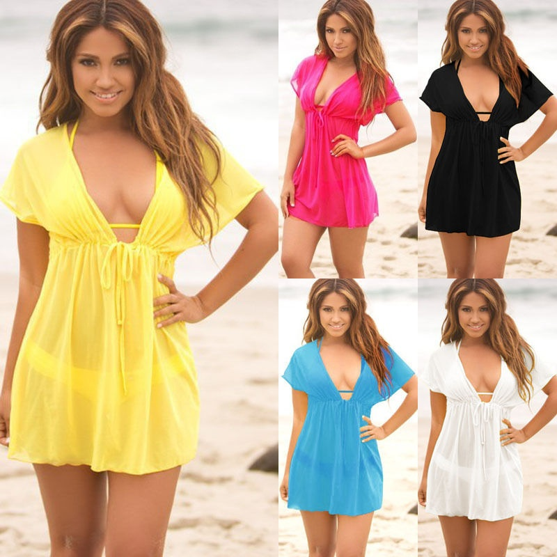 2019 Summer Women Chiffon Beach Swimsuit Cover Up Ladies V-neck Dress Bikini  Sun Sarong Beachwear Monokini