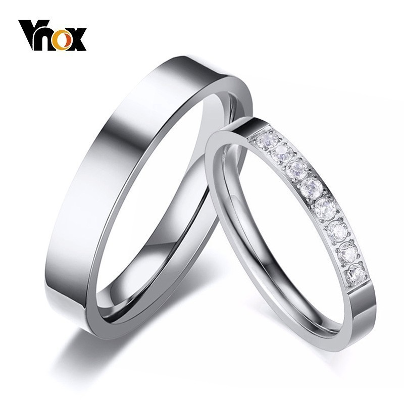 Vnox Engagement-Bands Couples Mens Rings Alliance Stainless-Steel Never Fade Lovers Women