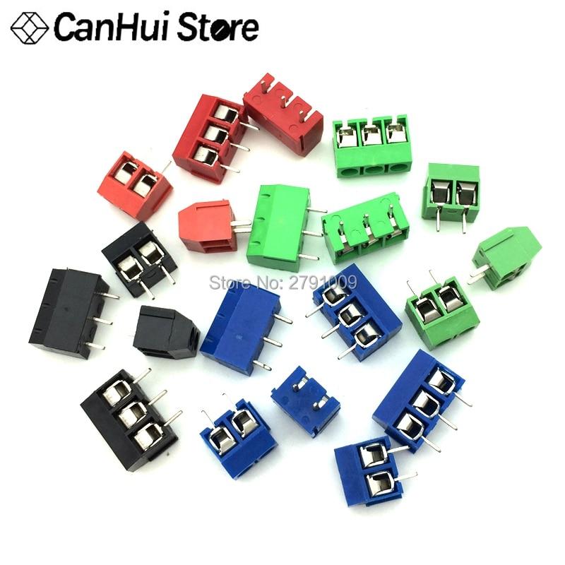 20 pces kf301-2 p 3 p parafuso 5.0mm bloco terminal 2 pinos 3 pinos pcb terminal bloco conector azul, verde, vermelho e preto selecionável