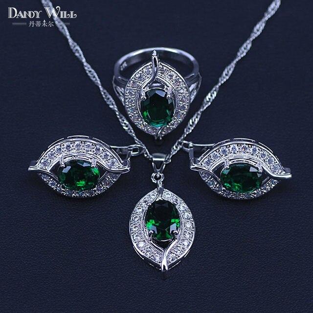 b7c692830 Eye 925 Sterling Silver Jewellery Costume Women Wedding Jewelry Sets of Green  Zircon Earrings Necklace Rings