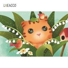 Laeacco Cartoon Sweet Cat Backdrop Children Portrait Photography Background Customized Photographic Backdrops For Photo Studio