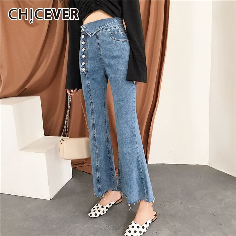 CHICEVER Spring Trousers For Women Denim Pants Irregular High Waist Casual Ankle-length Flare Pants Female 2019 Fashion New Tide
