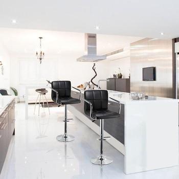 2PCS Sgabelli Da Bar Girevole In Pelle Nera Regolabile In Altezza Pub Bar Sedia Modern Living Room Furniture Bar Accessori Spedizione Gratuita