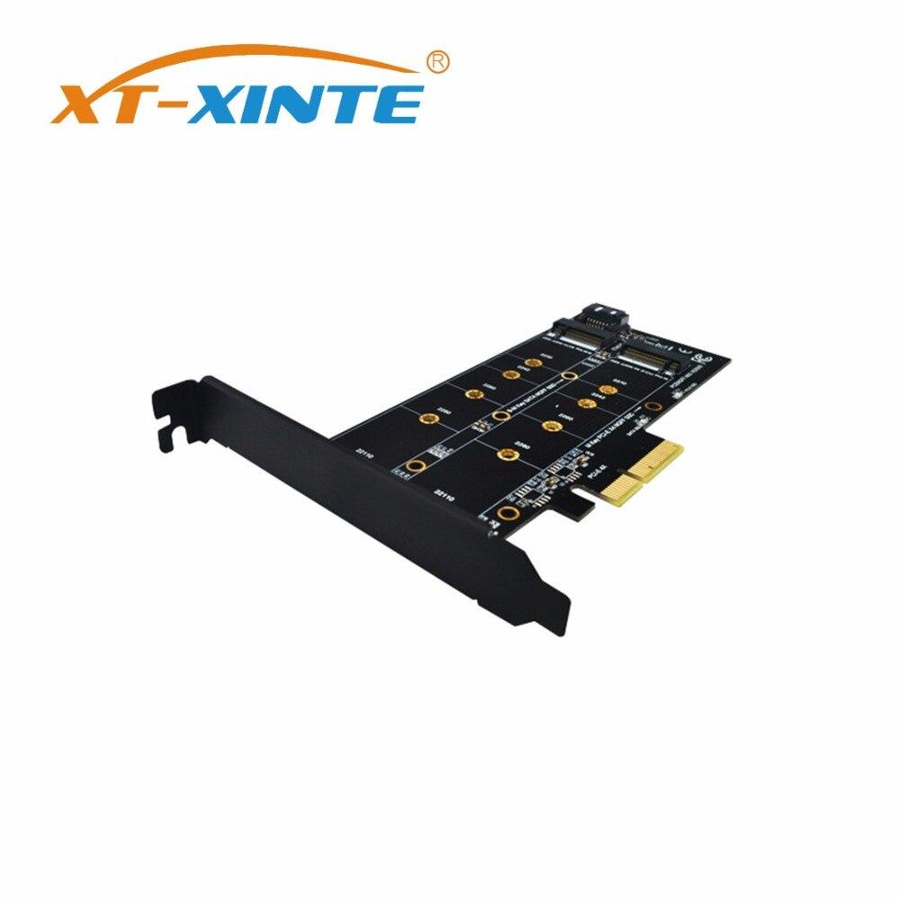 XT-XINTE  NVMe SSD NGFF to PCIE X4 Riser Card M Key+B Key Dual Interface Card