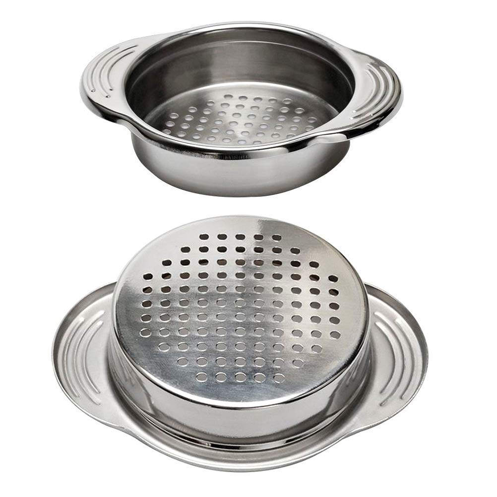 New Hot 2-Pack Stainless Steel Food Can Drainer Strainer, Sieve Tuna Can Oil Press Tuna Can Oil Squeezer Oil Drainer Can Opene image