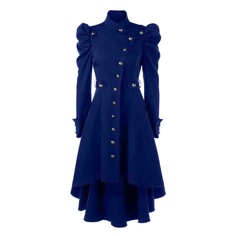 Female Women Coat Steampunk Button Up Hem Gothic Trench Coats Blazer Suits New
