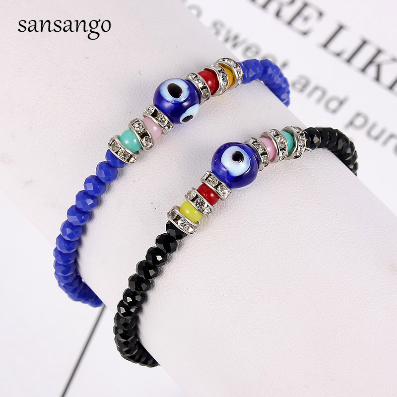Black Red Green Acrylic Beads Beaded Bracelet With Blue Evil Eye Charm Mysterious Bangle Gift For Women Men Accessories