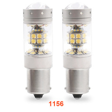 2pcs 2828 LED Car Tail Bulb 1156 BA15S 1157 BA15D  Brake Lights auto Reverse Lamp Daytime Running Light white 12V 24V