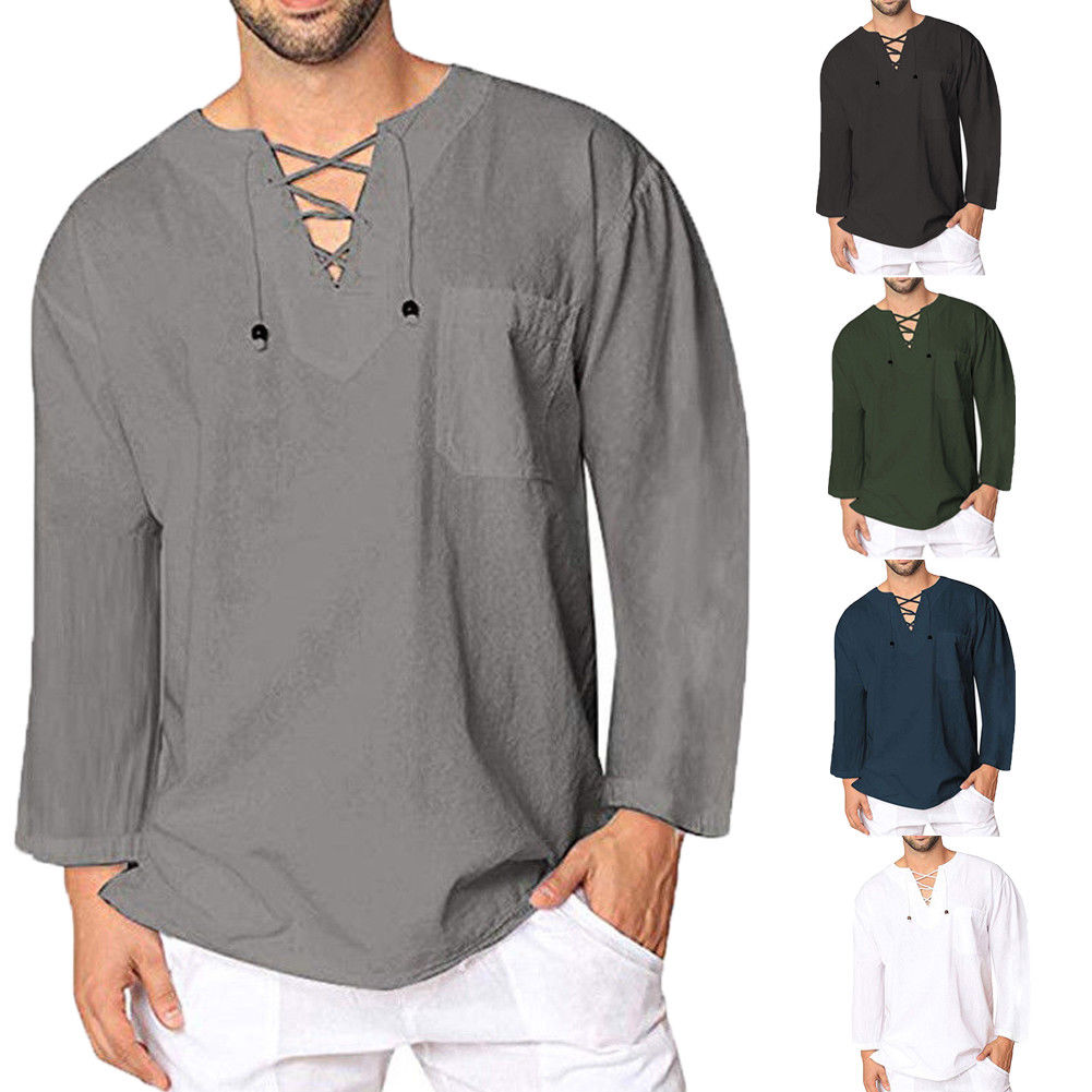 Domple Mens Lace Up Long Sleeve Printing Casual Slim Cotton Linen Shirts