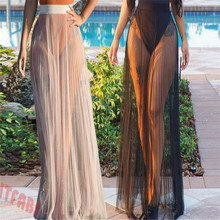 2019 fashion new wild women's beach mesh pleated skirt perspective tulle skirt недорго, оригинальная цена