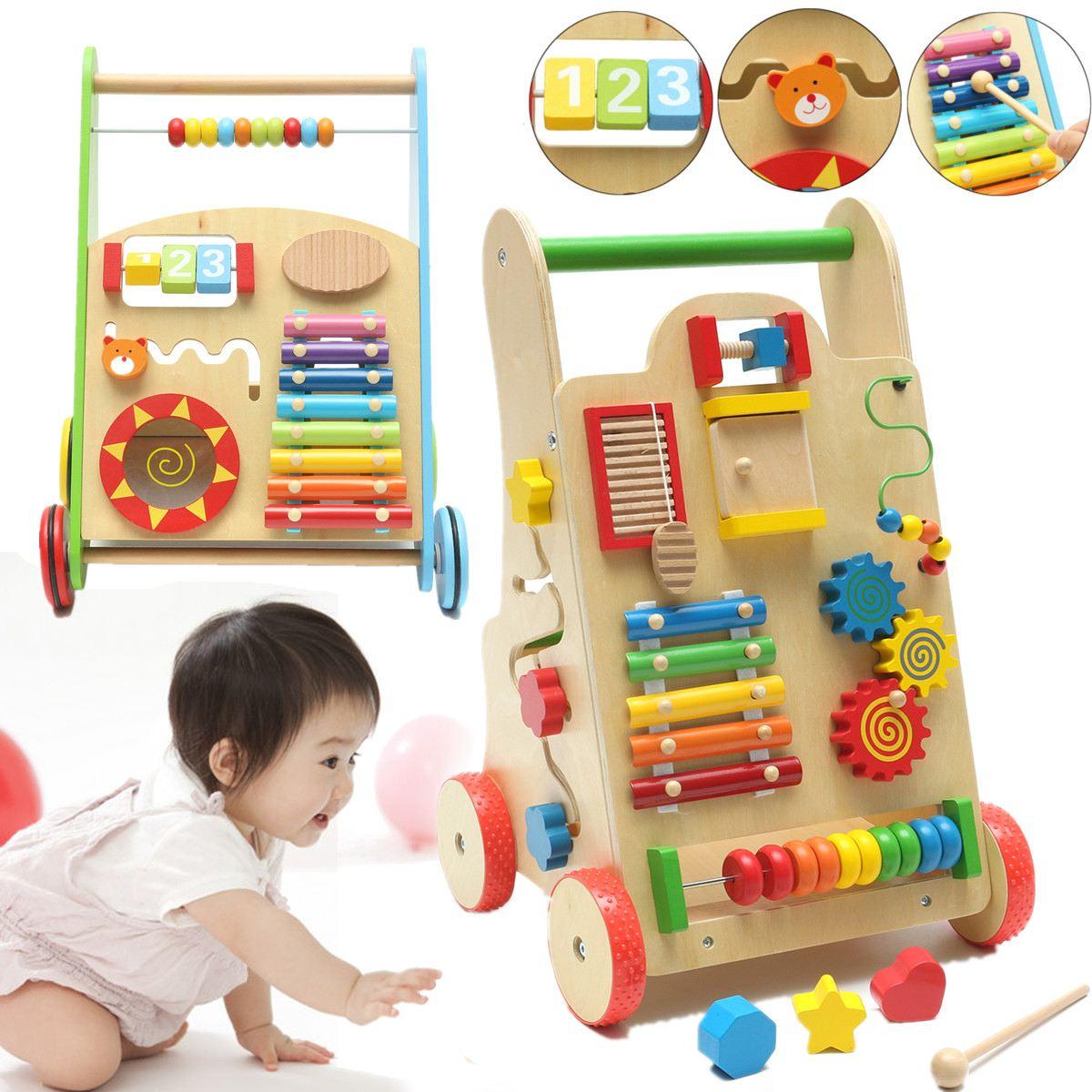 Trotteur bébé marche Assistant en bois petite enfance en bois multifonctionnel chariot enfant marcheurs avec roues jouets