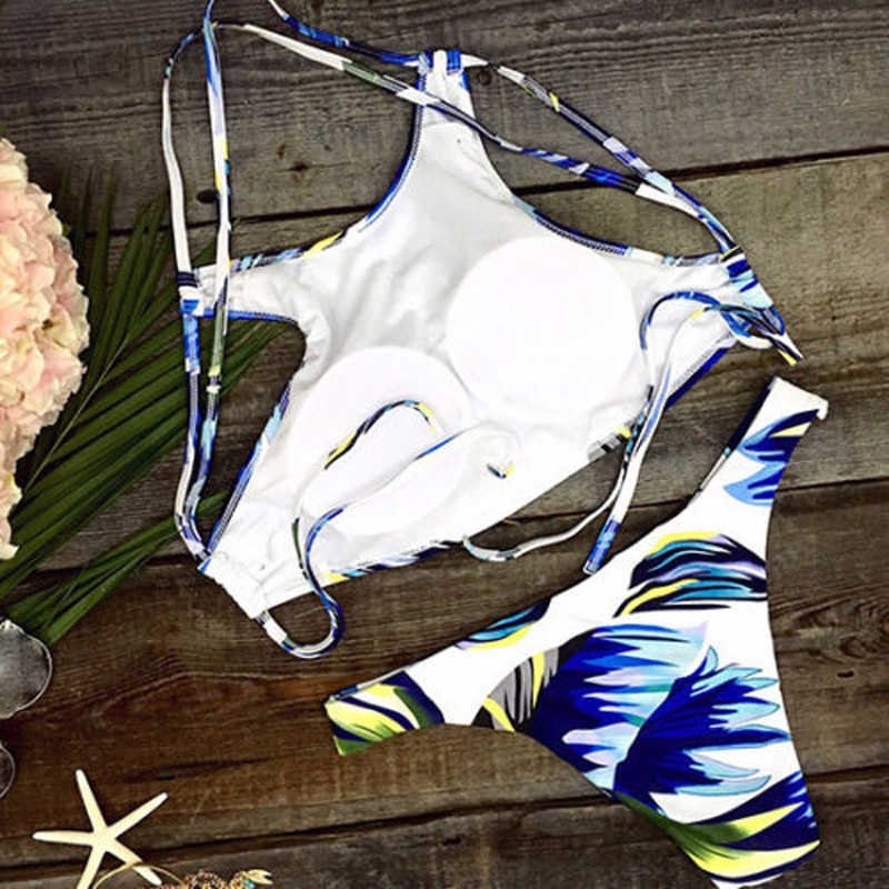 Femmes Sexy Bikini Ensemble maillot de plage Bleu Graffiti Imprimé Maillots De Bain Pour Femmes Bandage Taille Moyenne Rembourré bikini beachwear