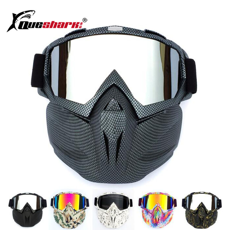 Uv Protection Cycling Glasses With Dust-proof Face Mask Camouflage Snowboard Snowmobile Motorcycle Removable Safety Mask