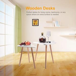 Image 2 - 2 قطعة طاولات خشبية حديثة مجموعة مكاتب لغرفة النوم غرفة المعيشة ديكور