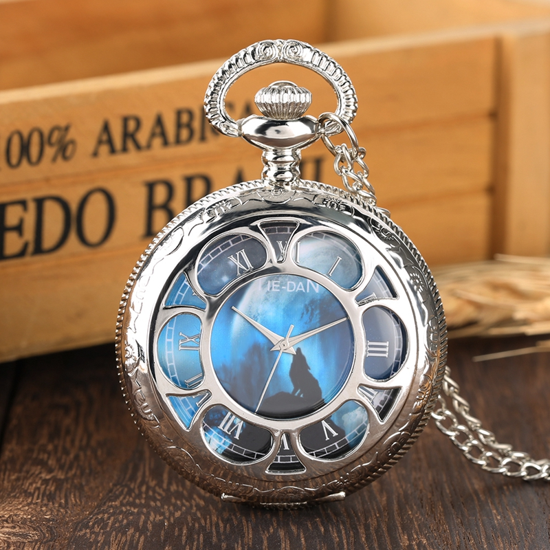Creative Blue Wolf Dial Quartz Pocket Watch Night Charm Jewelry Necklace Chain FOB Silver Clock As Pendant Gifts For Men Women
