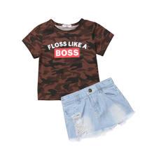 6bda5baf9d539 1-6y mode enfant en bas âge enfants bébé fille à manches courtes Camouflage  t-shirts hauts déchiré Denim jupe Jeans 2 pièces ens.