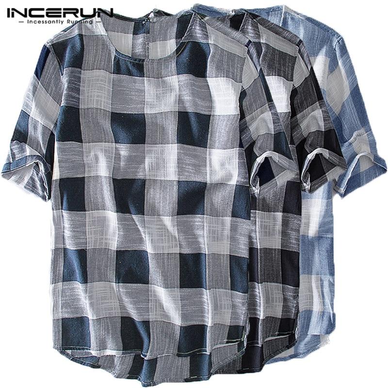 INCERUN Men Plaid T Shirt Vintage O-neck Short Sleeve Casual Tee Shirt Men Summer Color-block Leisure Men T-shirt Camisetas 3XL