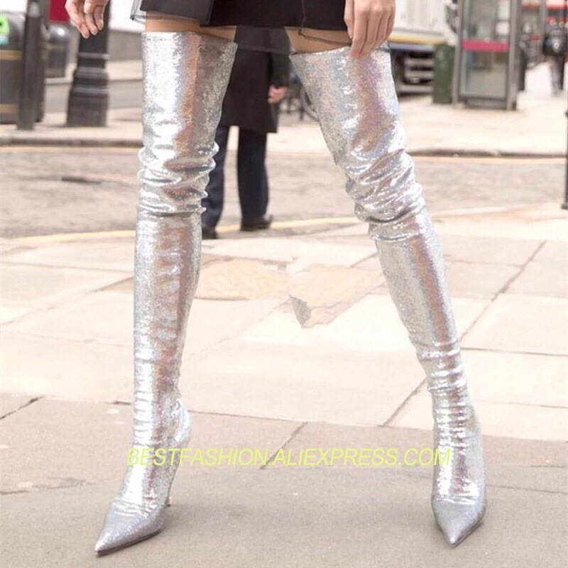 Hot  Shoes Woman Pointed Toe Thigh High Boots Runway High heels Woman Over the Knee Boots Bling Boot Stretch Leopard BootsHot  Shoes Woman Pointed Toe Thigh High Boots Runway High heels Woman Over the Knee Boots Bling Boot Stretch Leopard Boots