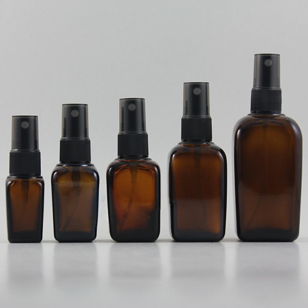 garrafa quadrada da bomba do perfume do vidro ambar de 50 pces 100 ml garrafa de