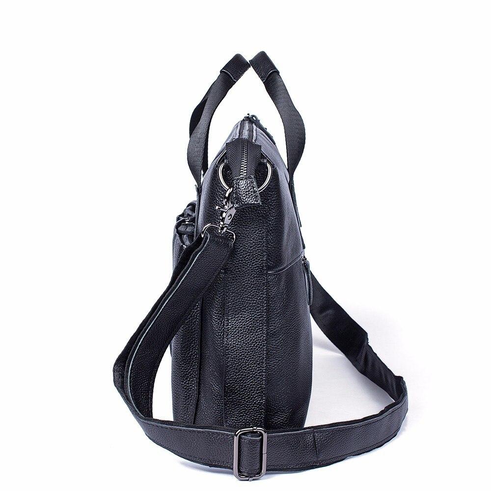 Männer Leder Vintage Taschen Messenger Aktentasche Schulter Aktentaschen Echtem Aus Mann Mode Umhängetasche Herren Für Black Laptop Handtasche dIHw8Hq